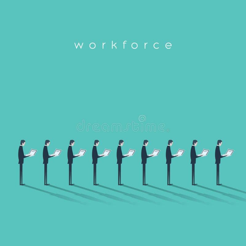 Geschäftsarbeitskraftvektor-Illustrationskonzept mit den Geschäftsmännern, die niedrige sich wiederholende Arbeit erledigen Gesch stock abbildung