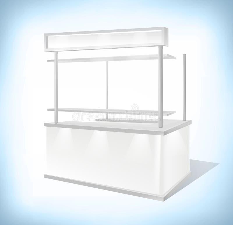 Geschäftsausstellung Promostand, Verkäufe Kiosk-Einzelhandel-Stand Modell-Schablone lokalisiert auf dem weißen Hintergrund Wieder lizenzfreie abbildung