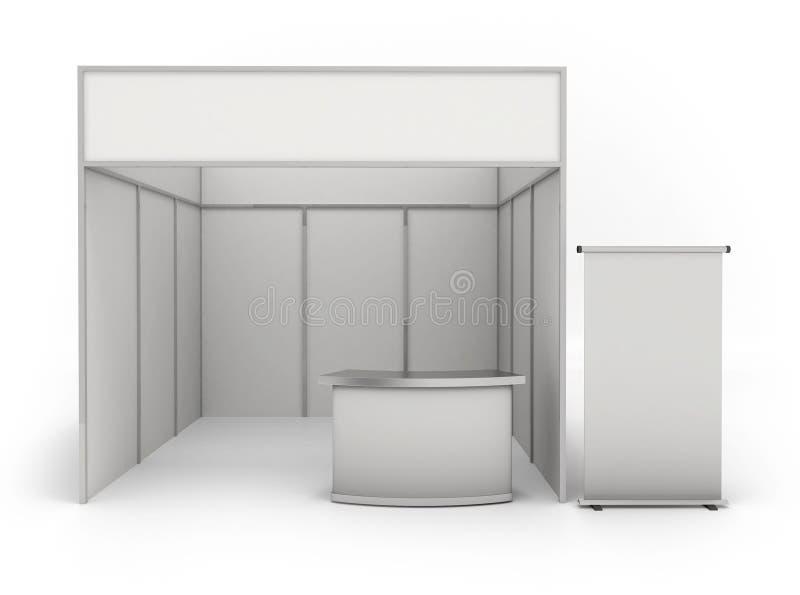 Geschäftsausstellungsstand und leere Rollenfahne 3d übertragen - lizenzfreie abbildung