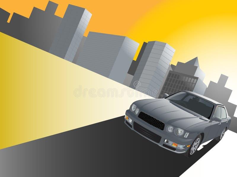 Geschäftsauto mit Stadt   lizenzfreie abbildung