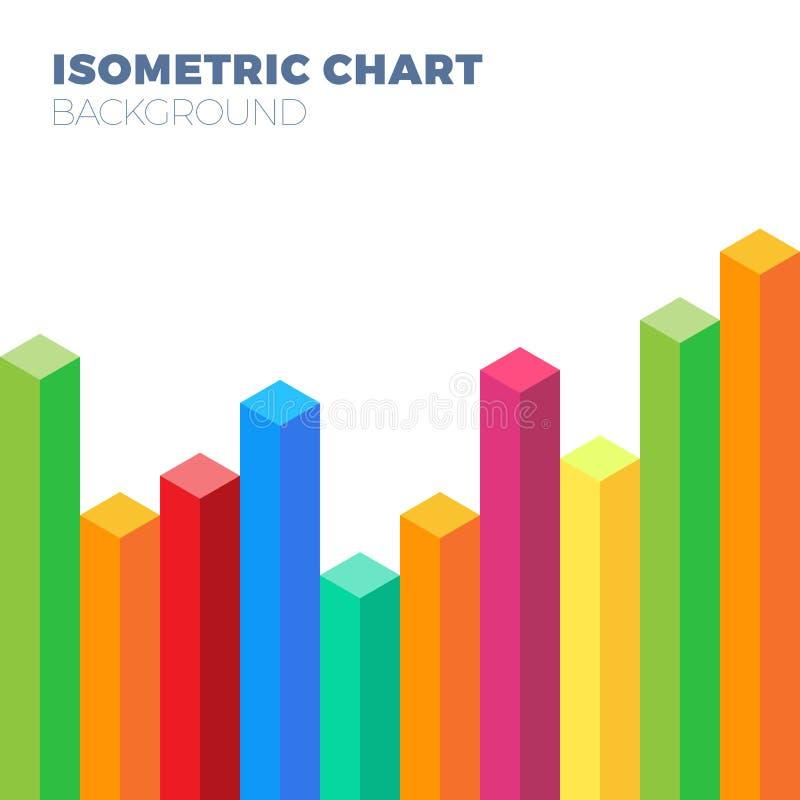 Geschäftsbegriffshintergrund mit einem isometrischen bunten Diagramm oder einem Diagramm, die hoch steigen stock abbildung