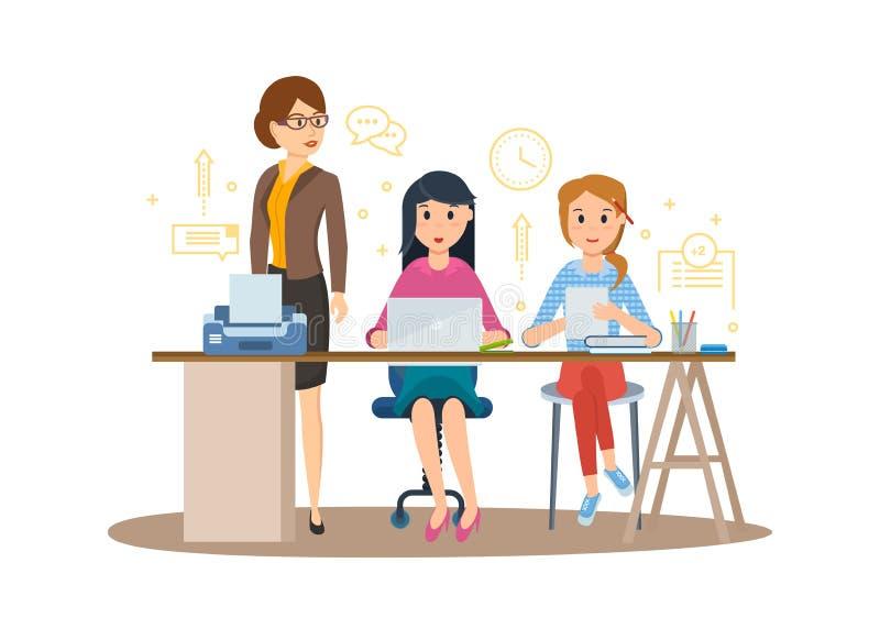 Geschäftscharaktere, die im Büro, Geschäftsfrauunternehmer mit Kollegen arbeiten stock abbildung