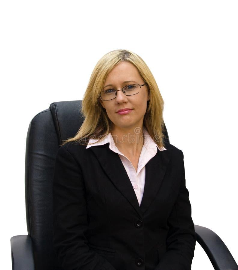 Geschäftsdame auf weißem Hintergrund stockfotos