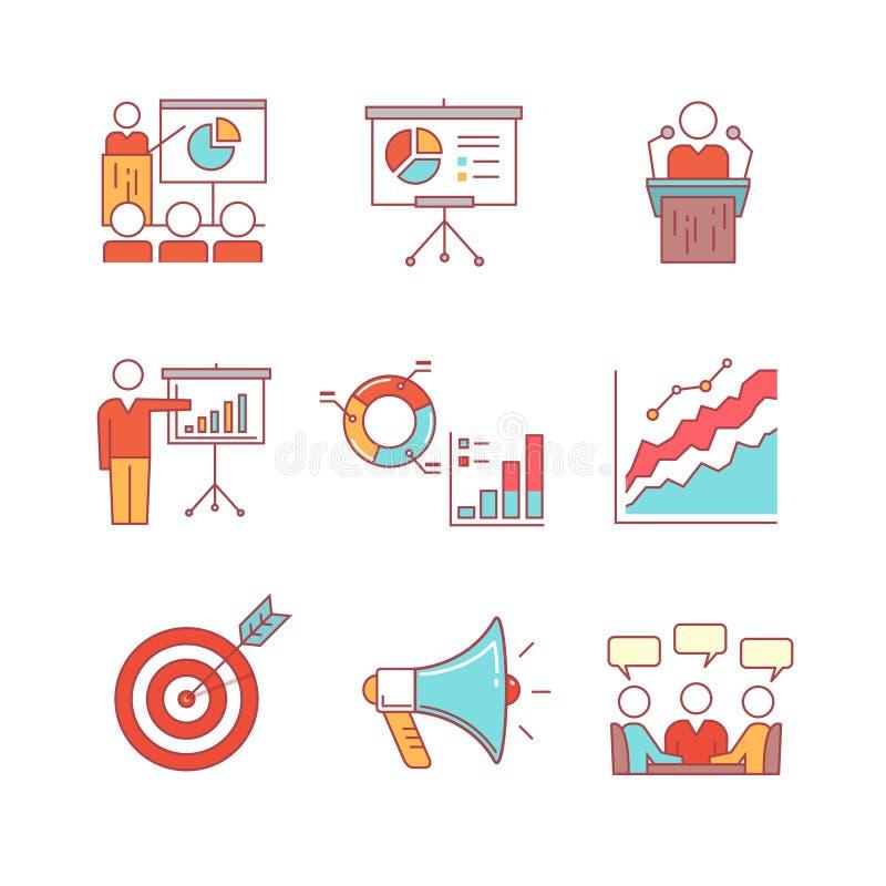 Geschäftsdarstellung, Bildung, Seminar, Vortrag stock abbildung