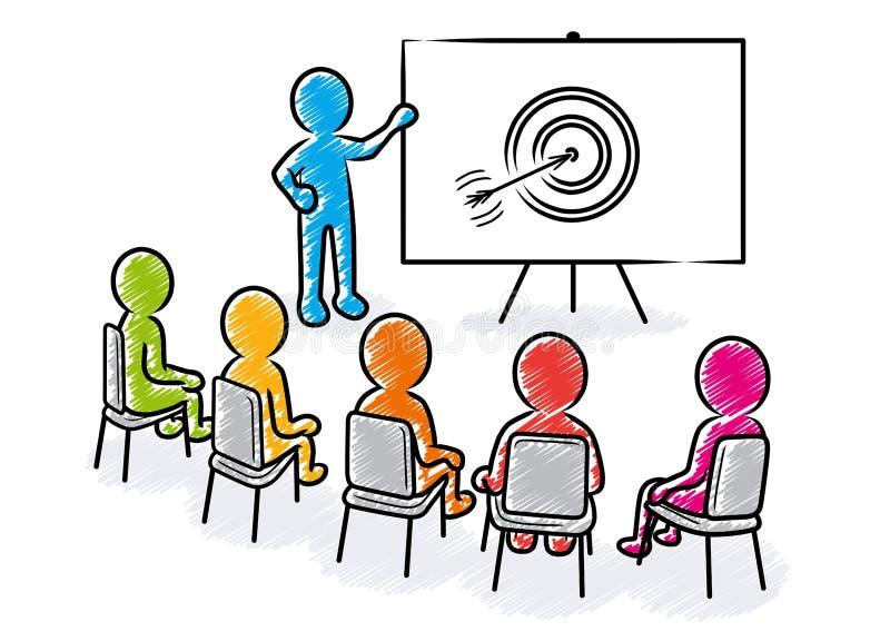 Geschäftsdarstellung: Sprecher vor Zuschauern und Zielikone lizenzfreie abbildung