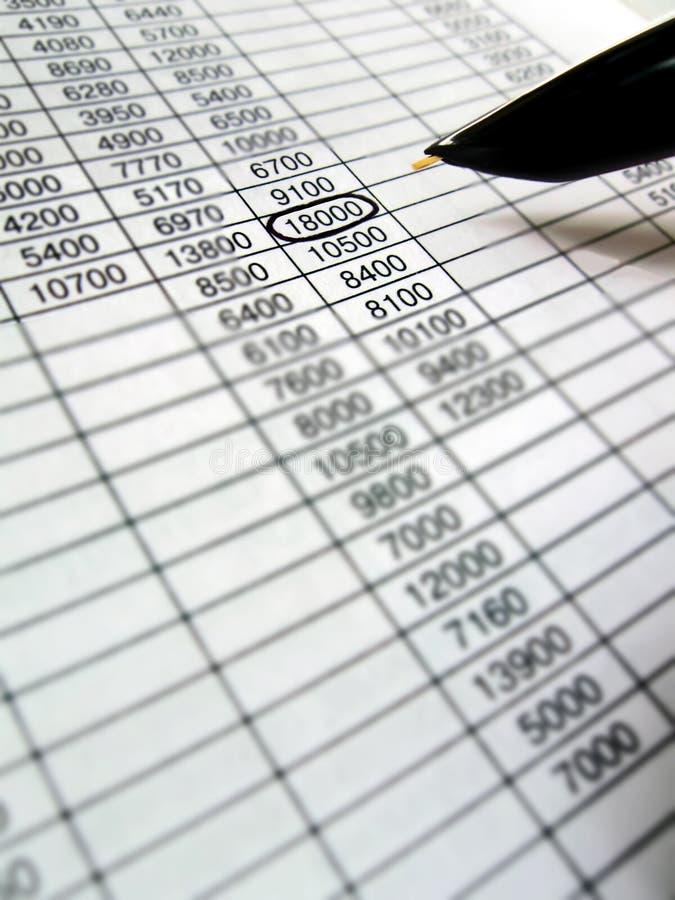 Geschäftsdaten nummerieren Auswahl durch Feder stockfoto