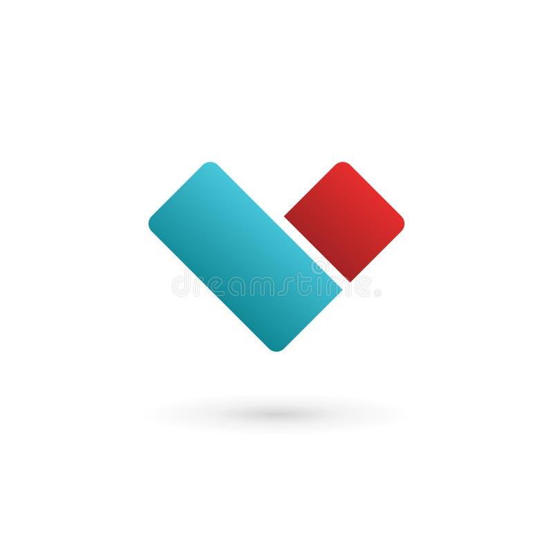 Geschäftsdesign-Schablonenlogoikone mit Buchstaben V und Herzen vektor abbildung