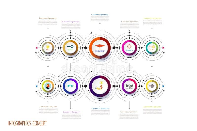 Geschäftsdesignschablone des Vektors infographic mit 3D lizenzfreie abbildung