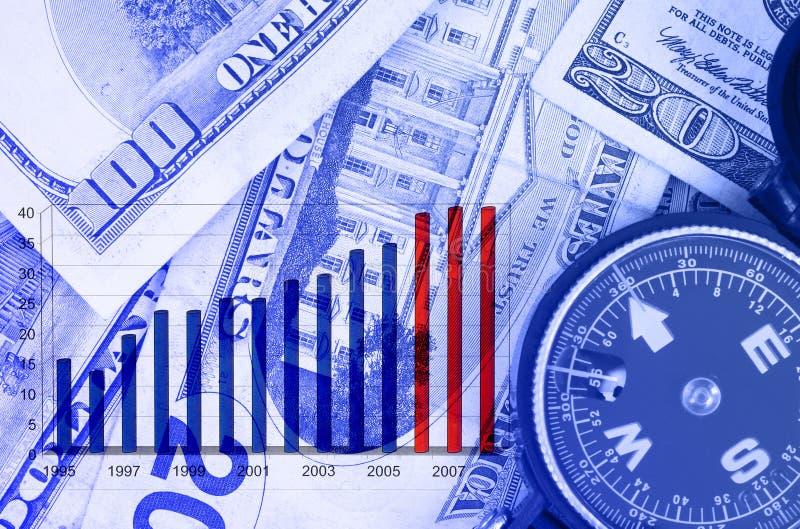 Geschäftsdiagramm auf dolars stockfoto