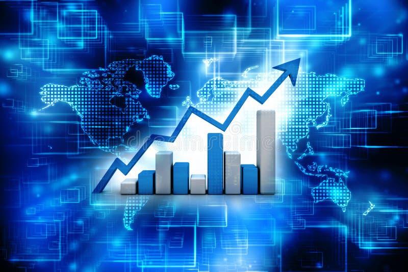 Geschäftsdiagramm der Wiedergabe 3d und Dokumente, Börse-Erfolgs-Konzept vektor abbildung