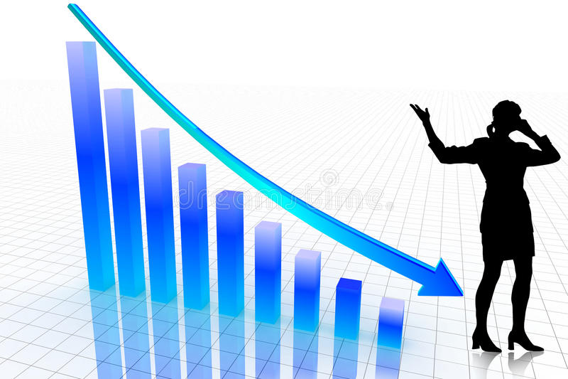 Geschäftsdiagramm-Erscheinen-Geschäftsverlust lizenzfreie abbildung