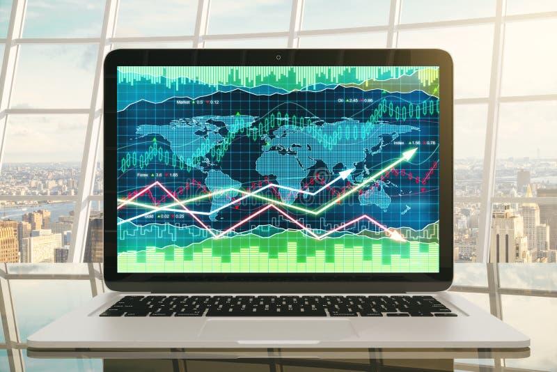 Geschäftsdiagramm mit glühenden Pfeilen auf Laptopschirm auf glasigem ta vektor abbildung