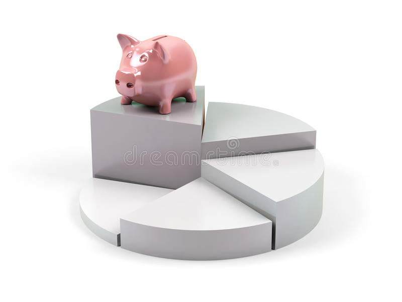 Geschäftsdiagramm mit piggy Querneigung. stock abbildung