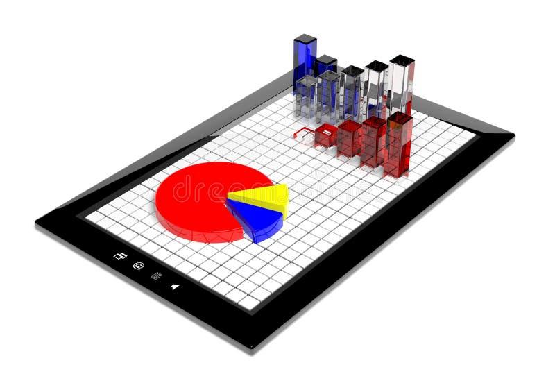 Geschäftsdiagramm und Kreisdiagramm auf Tablette lizenzfreie abbildung