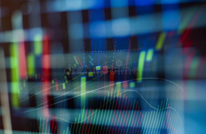 Geschäftsdiagrammdiagramm der Börse-Investition, die auf Digitalanzeige handelt stockbild