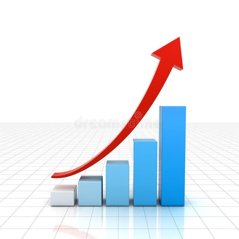 Geschäftsdiagrammdiagramm mit dem Rot, das herauf Pfeil über weißem Gitterhintergrund steigt stock abbildung