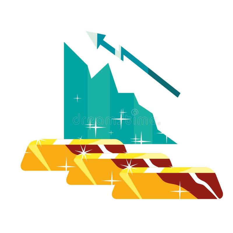 Geschäftsdiagrammgoldbarren stock abbildung