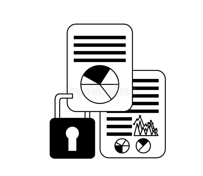 Geschäftsdokument berichtet über Sicherheitsdaten lizenzfreie abbildung