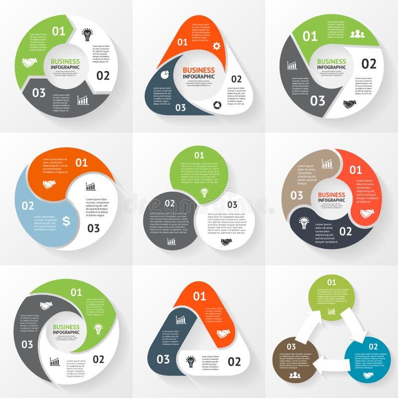 Geschäftsdreieckkreis infographic, Diagramm lizenzfreie abbildung