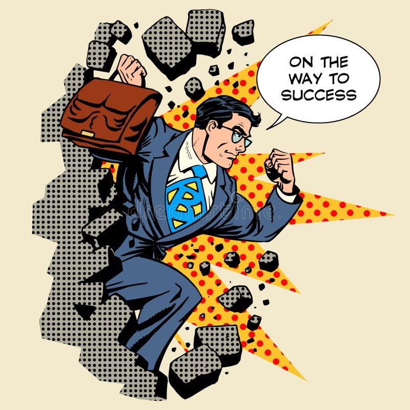Geschäftsdurchbrucherfolgs-Geschäftsmannheld stock abbildung