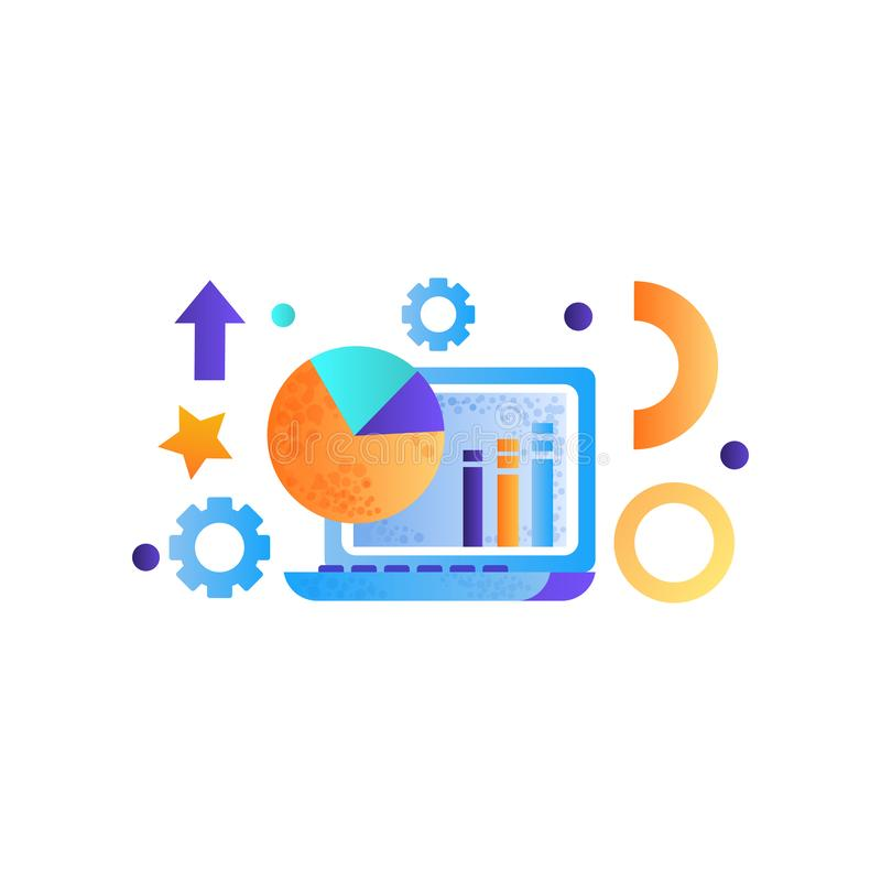 Geschäftselemente, Laptop-Computer, Datenanalyse, Management, Finanzierung, Strategie, vermarktende Symbole vector Illustration stock abbildung