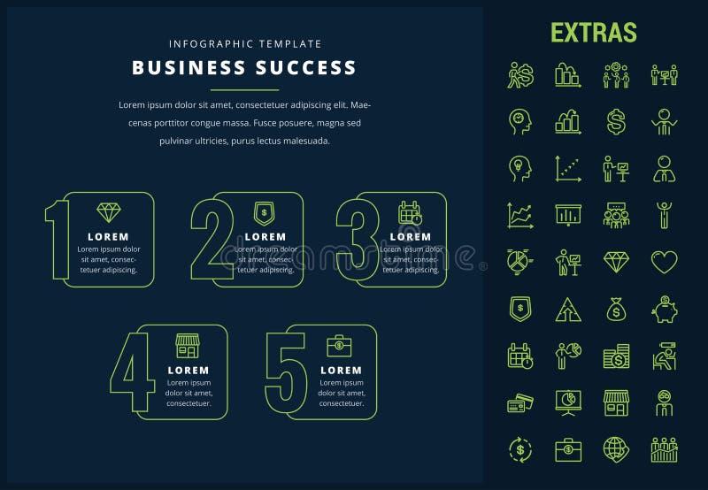 Geschäftserfolginfographic Schablone und Elemente lizenzfreie abbildung