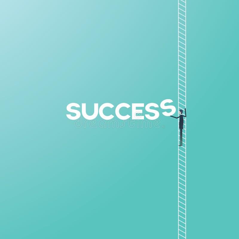 GeschäftserfolgKonzept mit Leiter-Vektorkarikatur des Geschäftsmannes kletternder Unternehmens- oder Karriereleiterwachstum und stock abbildung