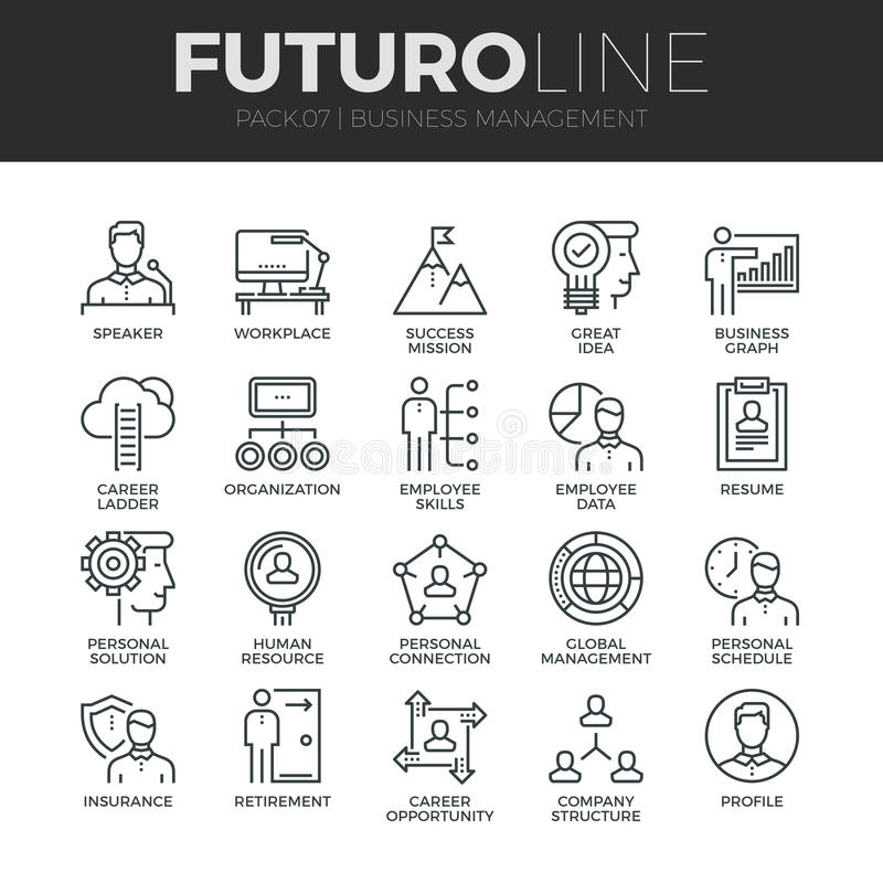 Geschäftsführung Futuro-Linie Ikonen eingestellt stock abbildung