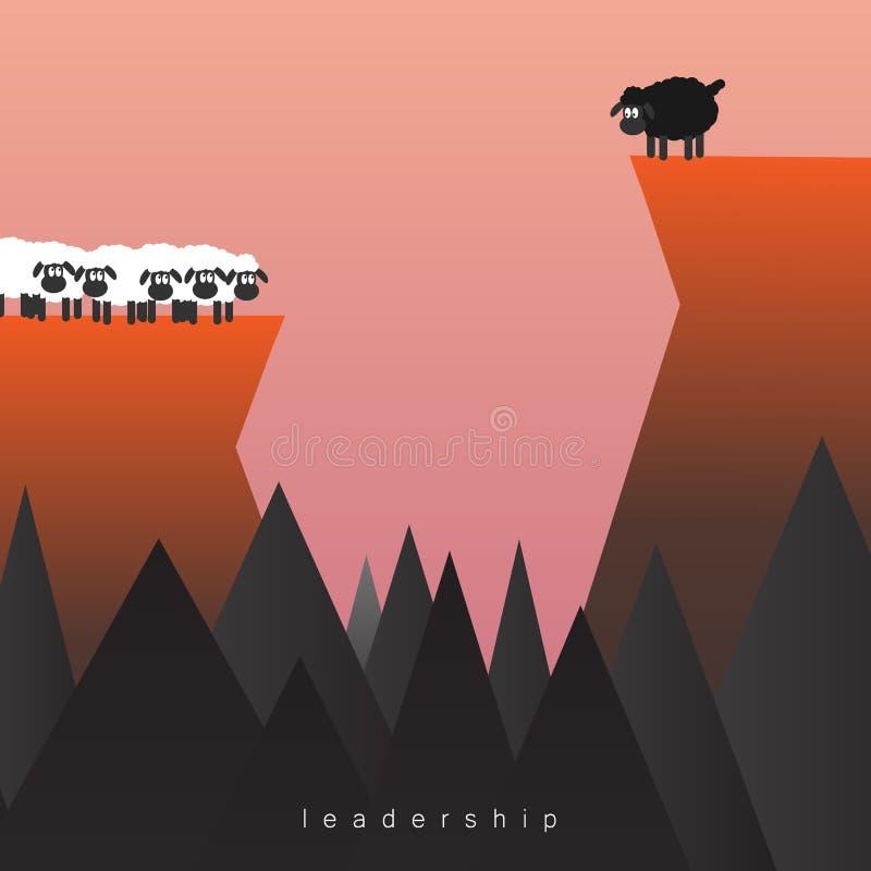 Geschäftsführung stehen heraus vom Mengenkonzept mit Führer als schwarze Schafe zwischen weiße Schafe illus lizenzfreie abbildung