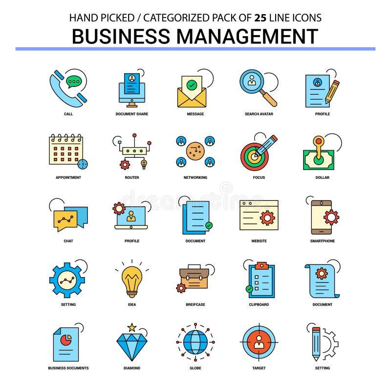 Geschäftsführungs-flache Linie Ikonen-Satz - Geschäfts-Konzept-Ikonen lizenzfreie abbildung