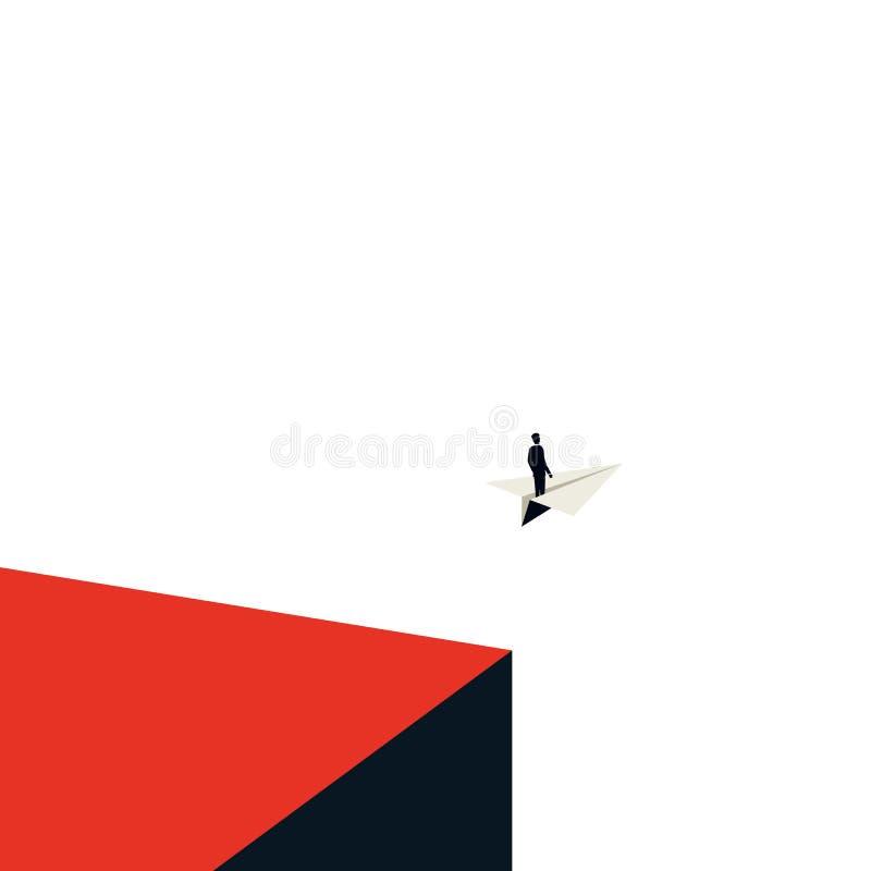 Geschäftsführungs-Vektorkonzept mit herein unbedeutender Kunstart Geschäftsmannfliegen auf einem Papierflugzeug Symbol des Führer lizenzfreie abbildung