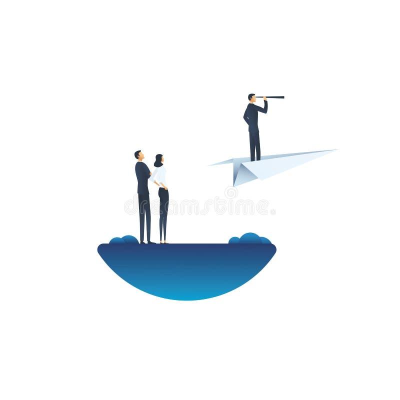 Geschäftsführungs-Vektorkonzept mit visionärem Fliegen des Geschäfts auf Papierflugzeug Symbol der Geschäftsvision, Ehrgeiz stock abbildung