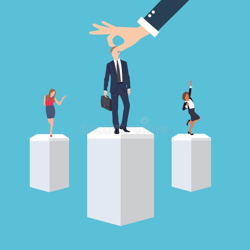 Geschäftsführungsangestelltarbeitskraftrechtmann im ausgewählten Bewerber der Platzposition während des Rekrutierungsprozesses stock abbildung