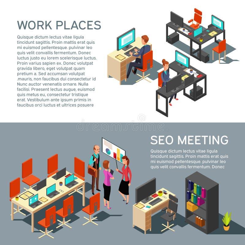 Geschäftsfahnen-Vektordesign mit modernem Innenraum des isometrischen Arbeitsplatzes und Leuten des Büros 3d vektor abbildung