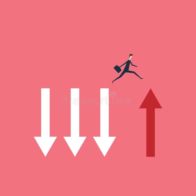 Geschäftsfinanzierung der Geschäftsmann springend über Abgrundkonzept Symbol von Geschäftserfolg, Herausforderung, r lizenzfreie abbildung