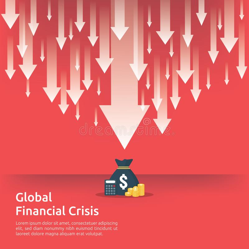 Geschäftsfinanzkrisenkonzept Geld fallen unten mit Pfeilabnahmesymbol Wirtschaft, die steigenden Tropfen, globales verlorenes ban vektor abbildung