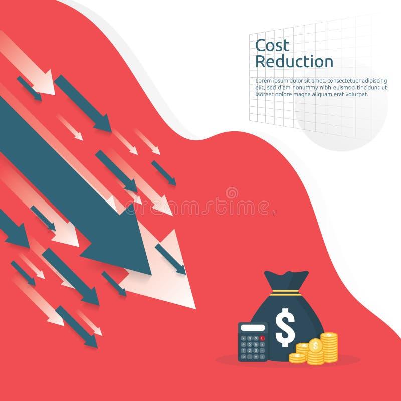 Geschäftsfinanzkrisenkonzept Geld fallen unten mit Pfeilabnahmesymbol Wirtschaft, die steigenden Tropfen, globales verlorenes ban lizenzfreie abbildung