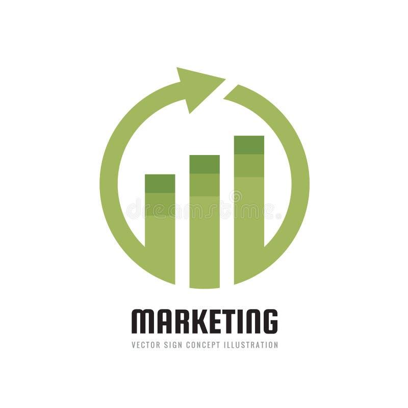 Geschäftsfinanzlogoschablone - vector Konzeptillustration Wirtschaftliches infographic Zeichen Pfeile und infograph Stange Wachst stock abbildung
