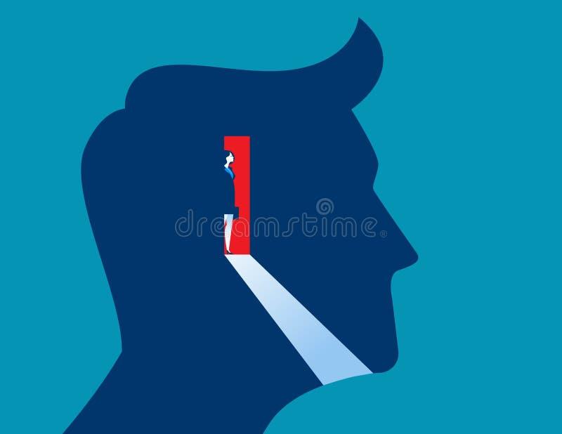 Geschäftsfrauöffnungstür innerhalb des Kopfes vektor abbildung