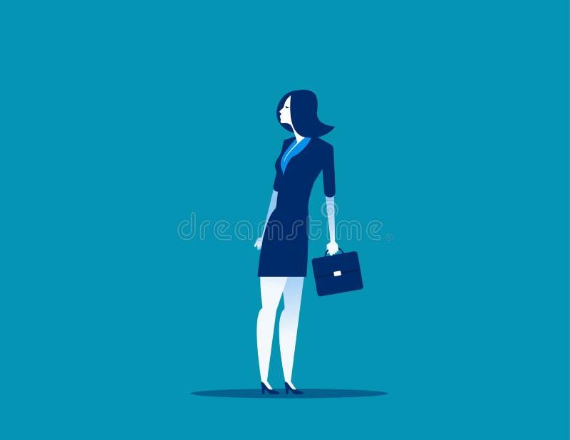 Geschäftsfrauüberschrift in der entgegengesetzten Richtung, zum von Hälfte einen Tiefstand zu erreichen Konzeptgesch?fts-Vektoril vektor abbildung