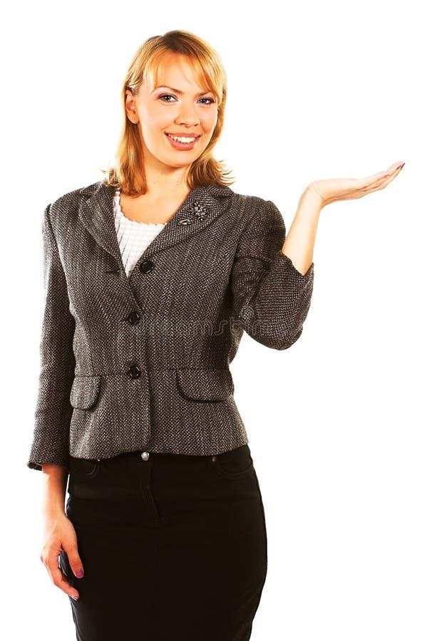Geschäftsfrau über weißem Hintergrund stockfotografie