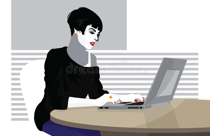 Geschäftsfrau arbeitet an der Laptop-Computer lizenzfreie abbildung