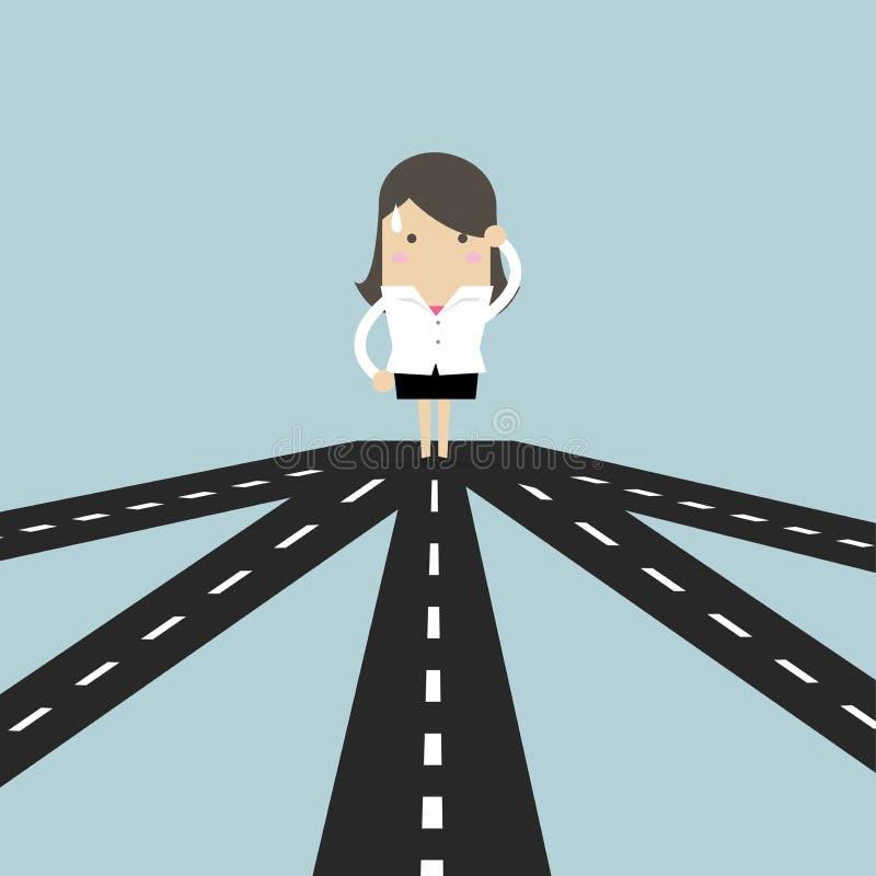 Geschäftsfrau auf der Kreuzung, die zukünftige Richtung zum Erfolg oder zur Geschäftsstrategie wählt lizenzfreie abbildung