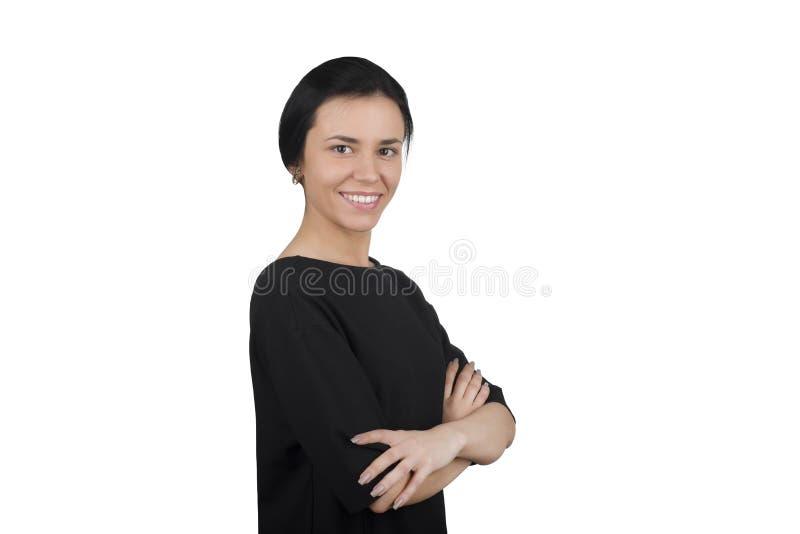 Geschäftsfrau auf einem weißen Hintergrund lizenzfreies stockbild