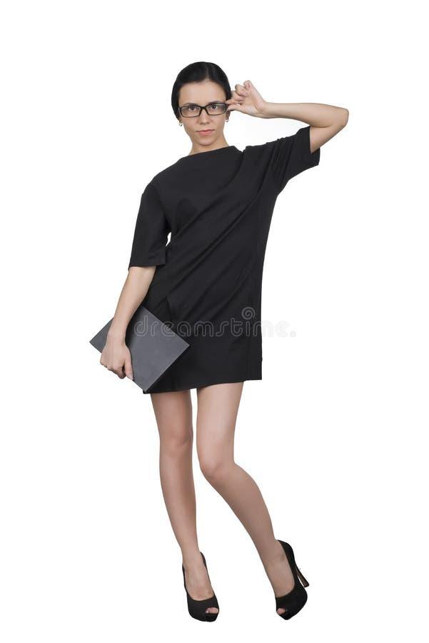 Geschäftsfrau auf einem weißen Hintergrund lizenzfreie stockbilder