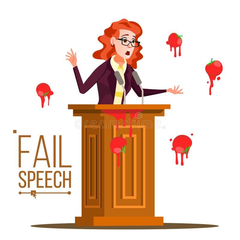Geschäftsfrau-Ausfallungs-Sprache-Vektor Erfolglose Mitteilung Schlechtes Feedback Tomaten von der Menge essen Tribüne, Podium lizenzfreie abbildung