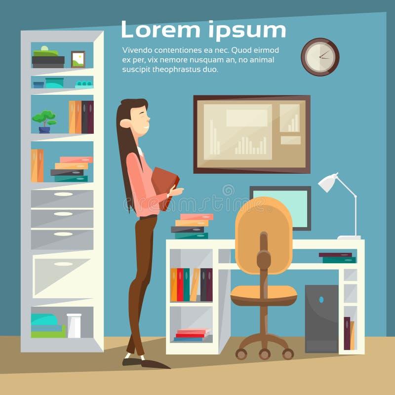 Geschäftsfrau an Büro-Arbeitsplatz, Geschäftsfrau-Hold Paper Contract-Dokumente vektor abbildung