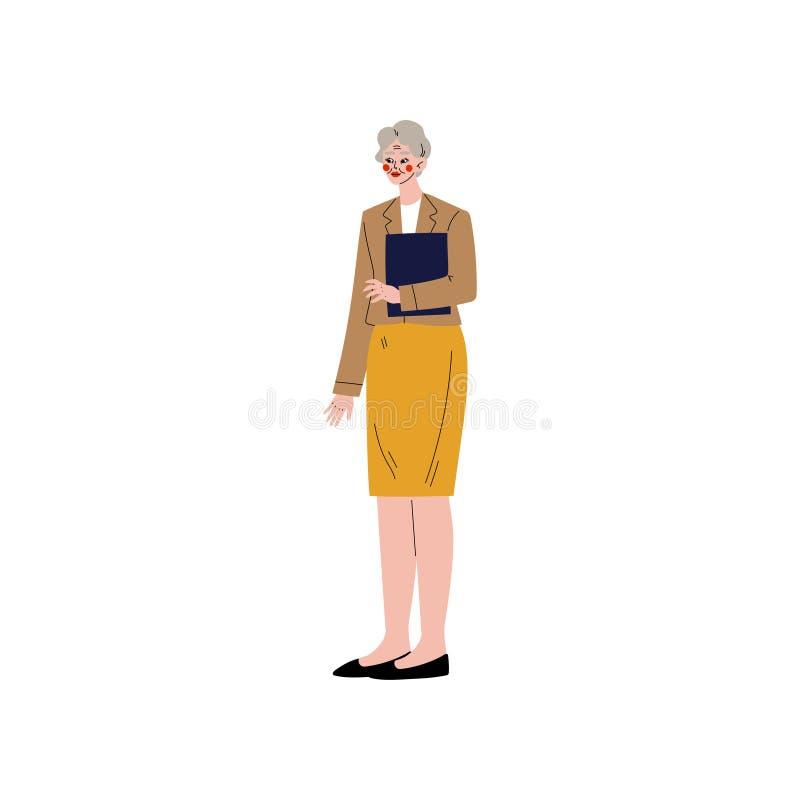 Geschäftsfrau, Büroangestellter, Unternehmer oder Manager Character Vector Illustration lizenzfreie abbildung