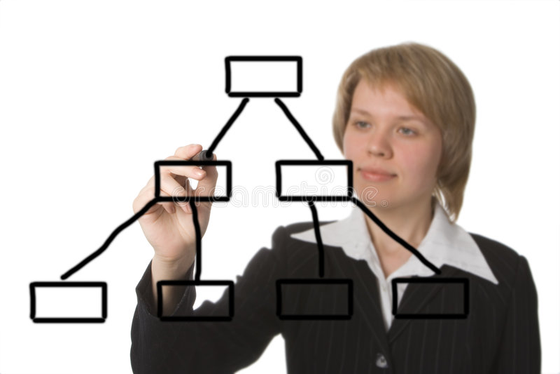 Geschäftsfrau-Betragdiagramm stockbild