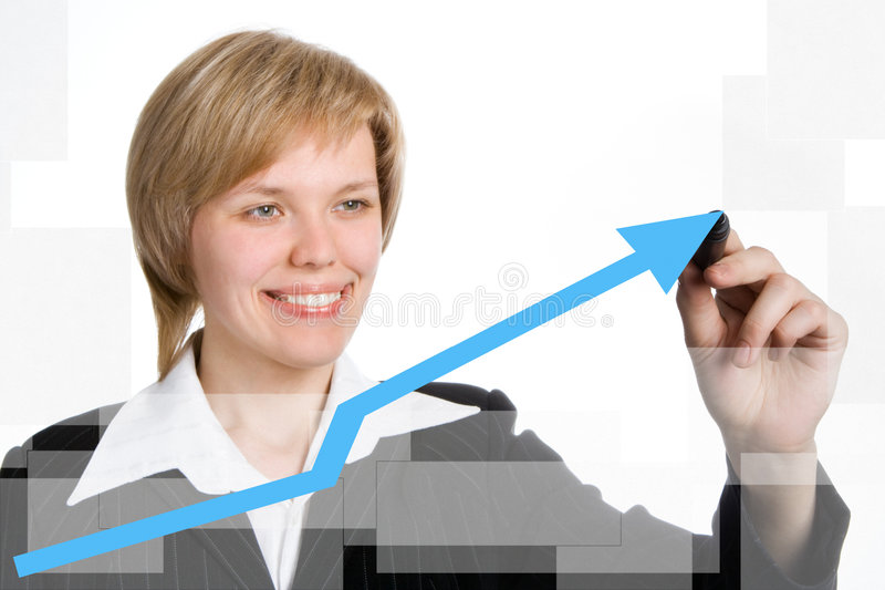 Geschäftsfrau-Betragdiagramm lizenzfreie stockfotos